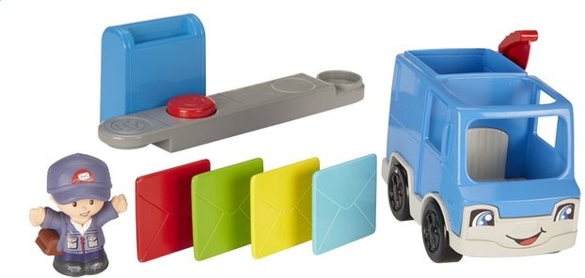 Fisher-price Little People Small Vehicle Postauto Blauw 4-delig