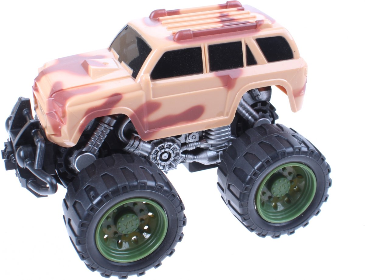 Free And Easy Monstertruck Frictiemotor Bruin 14 Cm