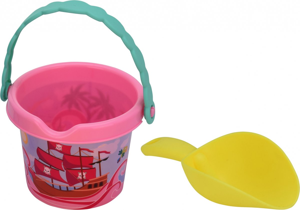 Free And Easy Strandemmer Met Schep Piraten 17,5 Cm Roze