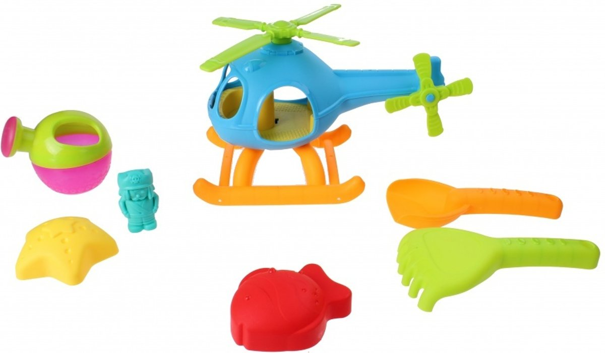 Free And Easy Strandset Met Helikopter 7-delig Blauw
