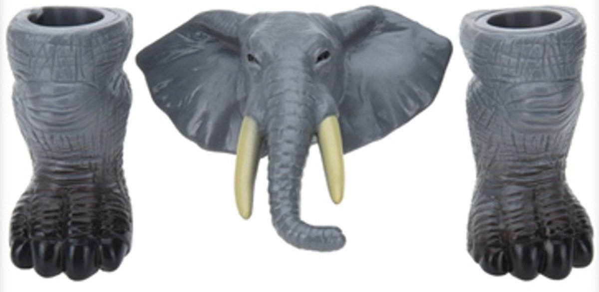 Free And Easy Vingerpop Wildlife Olifant 6 Cm Grijs 3-delig