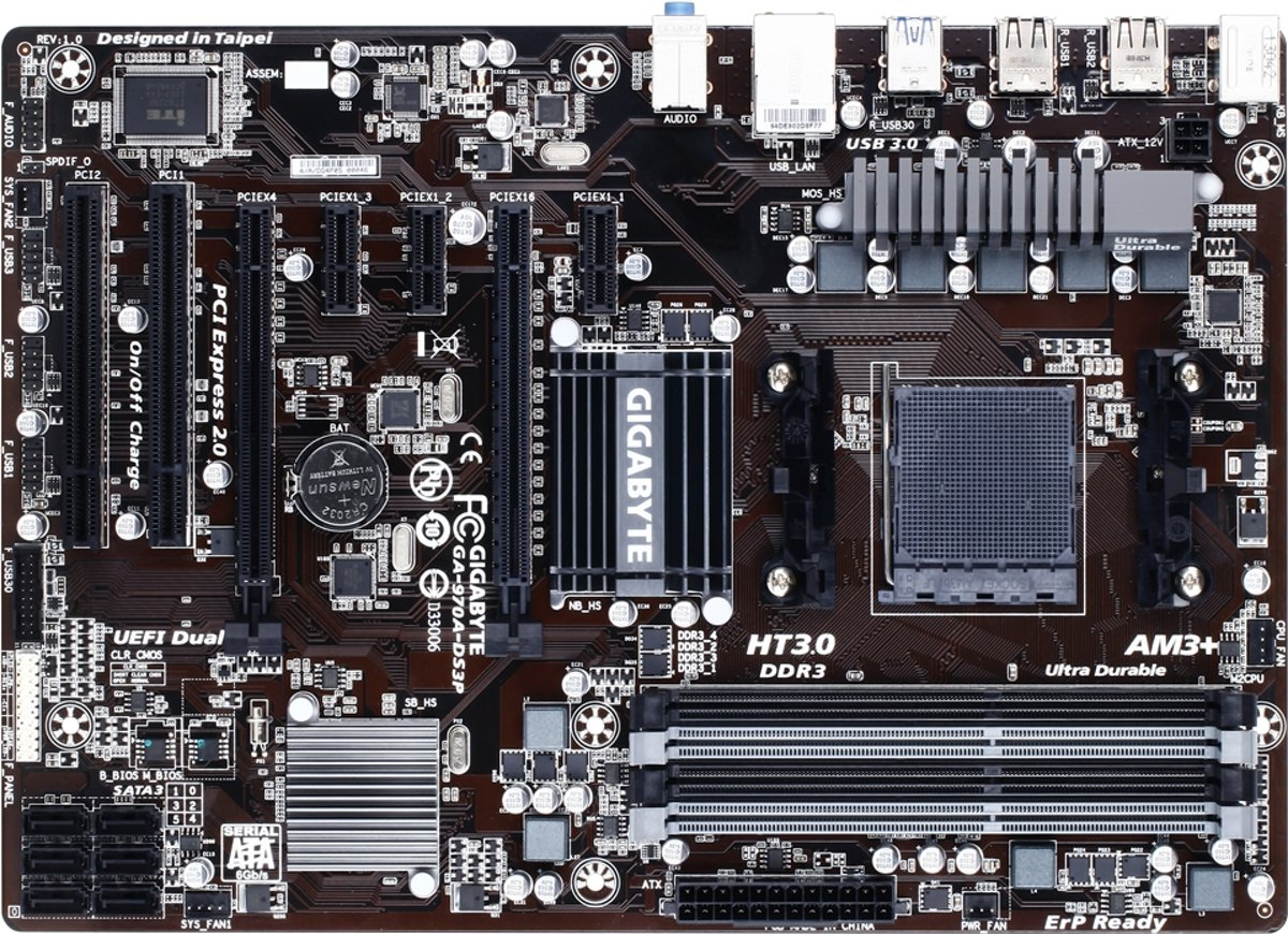 Gigabyte GA-970A-DS3P North Bridge: AMD 970<br/><br/>South Bridge: AMD SB950 Socket AM3+ ATX moederbord