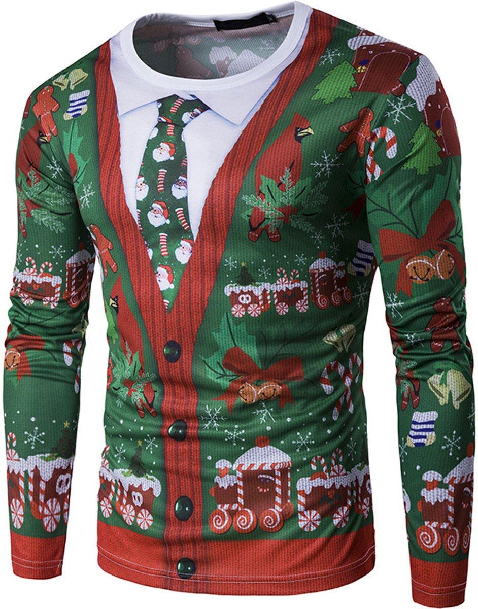 Kersttrui Heren Xl.Foute Kersttrui Shirt Met 3d Print Van Een Vest En Kerststropdas