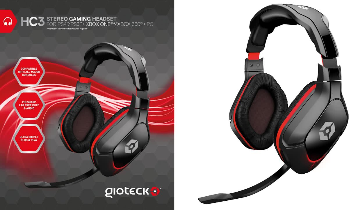 Gioteck HC3 Wired Stereo Gaming Headset (PC + MAC + PS4 + Xbox One + PS3 + Xbox360)