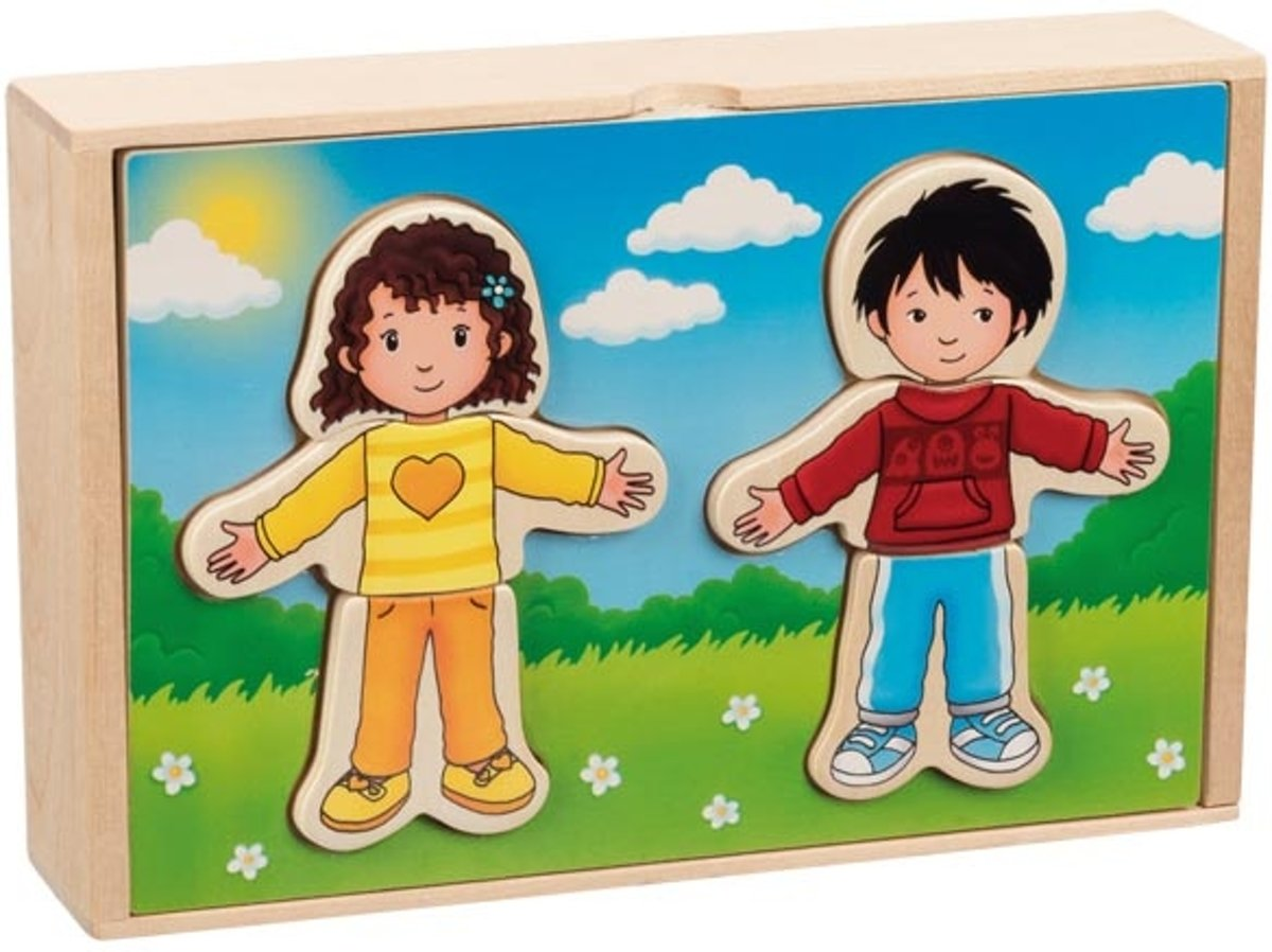 Goki Boy and Girl dress-up puzzle box in a wooden box