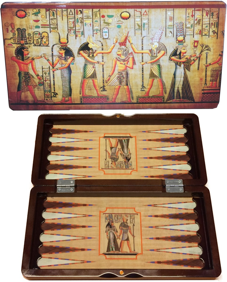 Backgammon koffer hout Egypt Design 40cm.