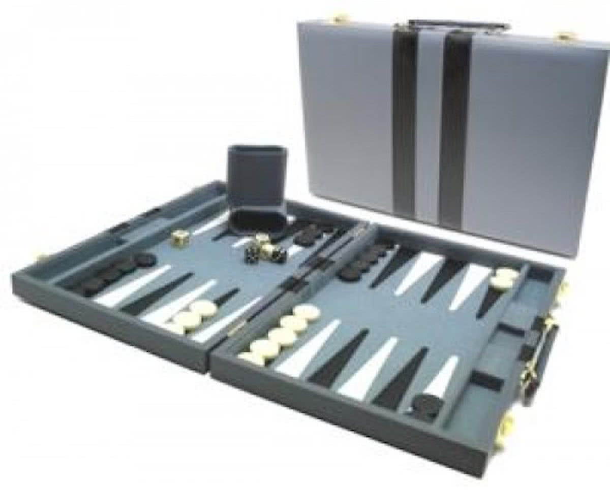 Hot sports Backgammon koffer grijs 38x24