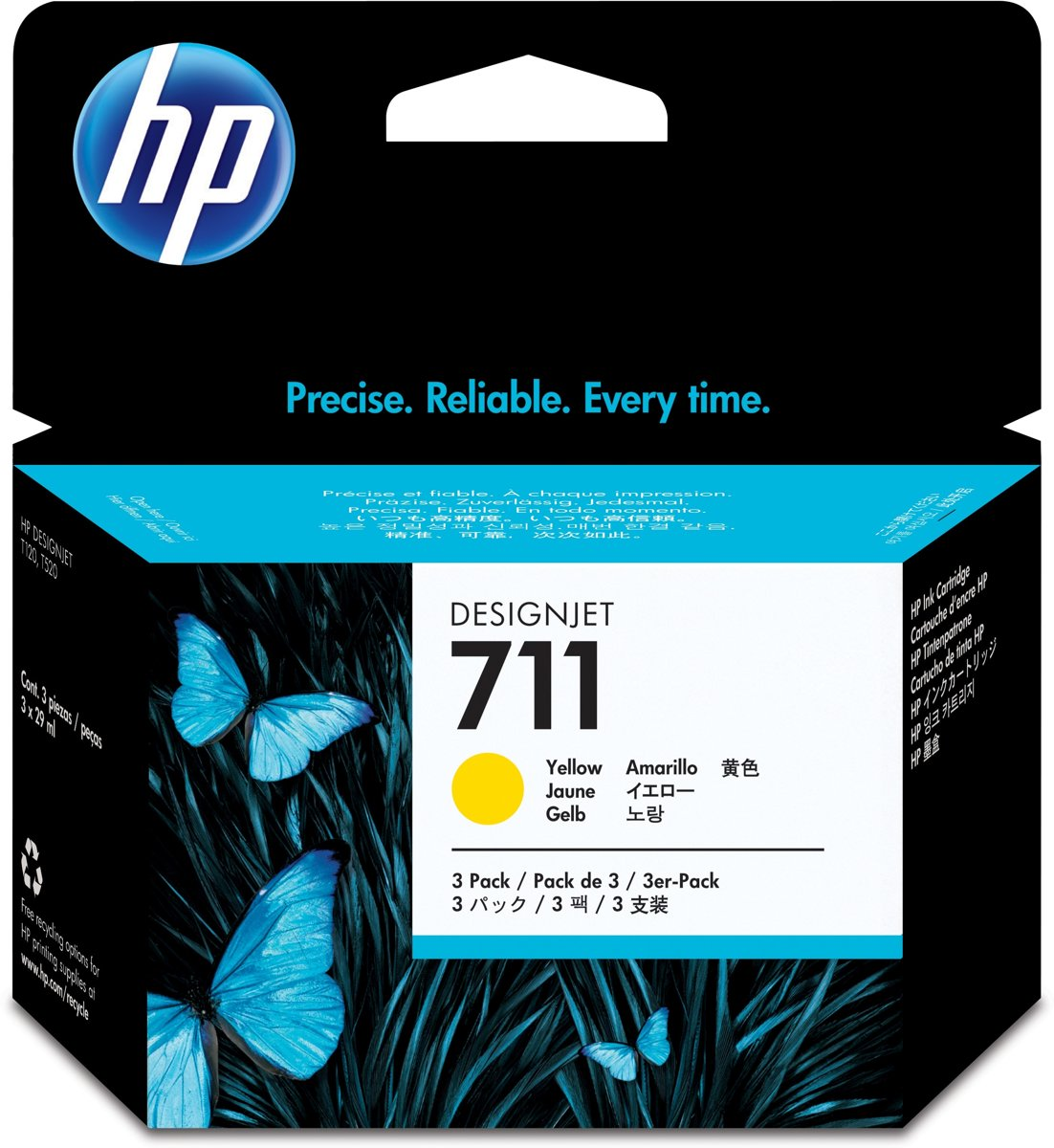 HP 711 - Inktcartridge / Geel / 3 Pack