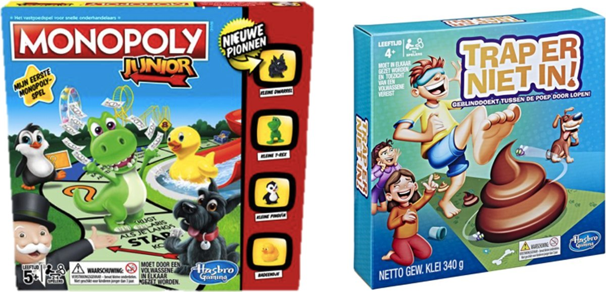 Kinderspelvoordeelset Monopoly Junior - Bordspel & Trap er niet in! - Kinderspel