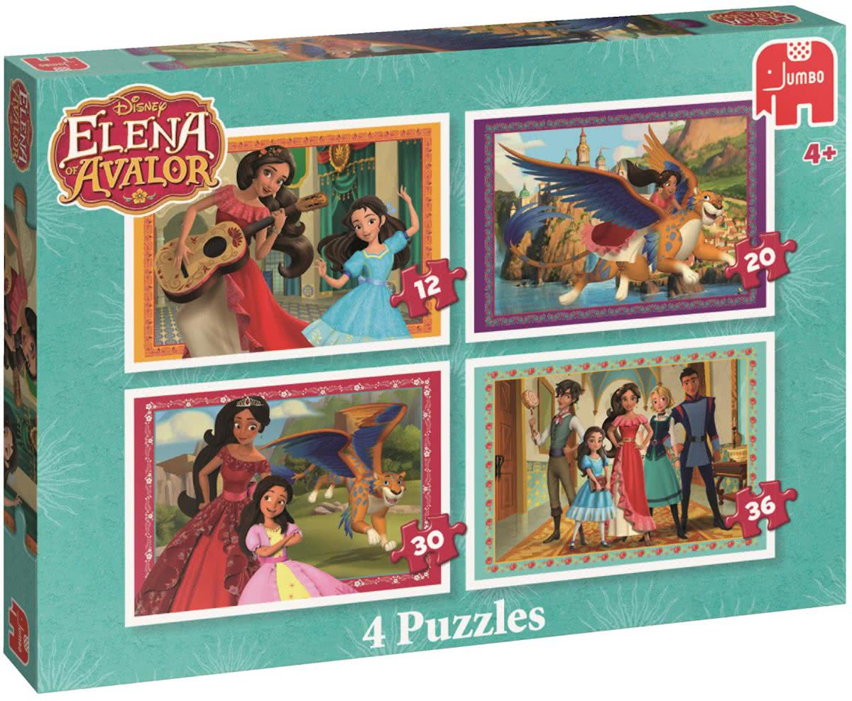 Disneys Elena of Avalor 4 in 1 - Set van 4 puzzels met 12, 20, 30 en 36 stukjes