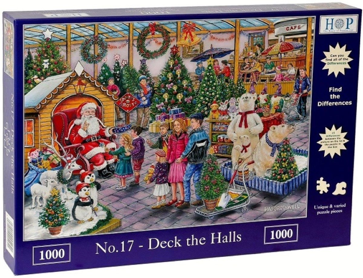 Legpuzzel - 1000 stukjes - Find The Differences - No.17 - Deck The Halls  - House of Puzzels