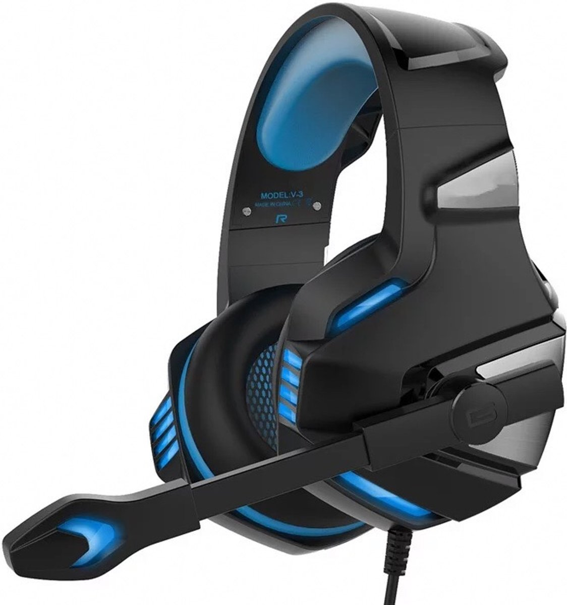 V-3 - 3.5 mm Gaming headset voor- Ps4- Xbox- Pc- Surround Sound- Over ear gaming koptelefoon- Led Verlichting -in Blauw-Zwart