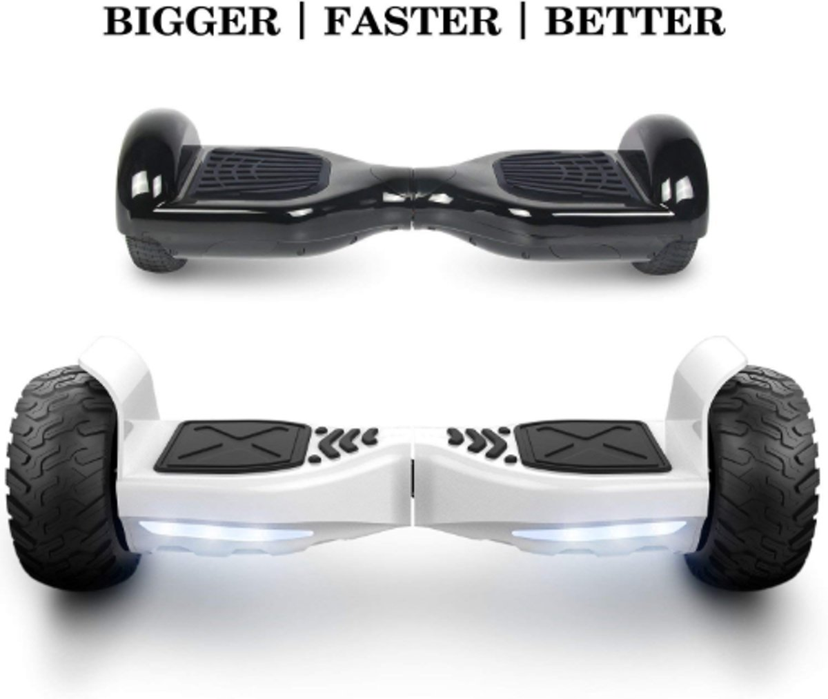 I-CIGO Hoverboard HUMMER Zelfbalancerende scooter ALLE TERREINEN 8.5 INCHES Off Road App Functie met V5 Bluetooth speaker&TAOTAO 2018 SOFTWARE (Wit)