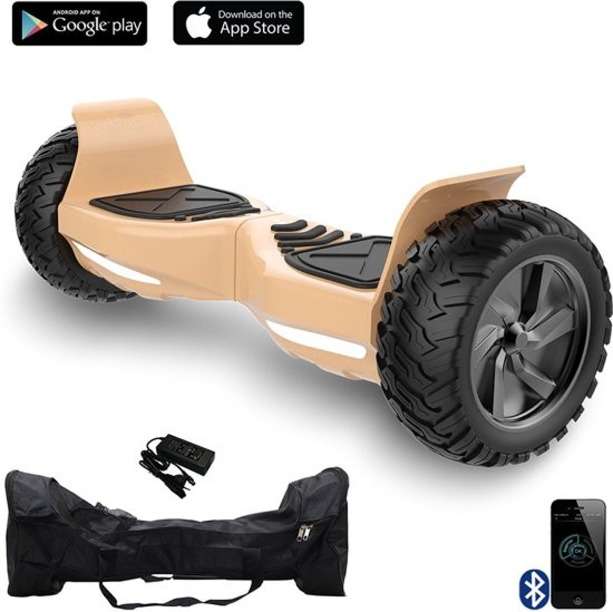HOVERBOARD HUMMER GOUD ALLE TERREINEN 8.5 INCHES Off Road App Functie met V5 Bluetooth speaker&TAOTAO 2018 SOFTWARE