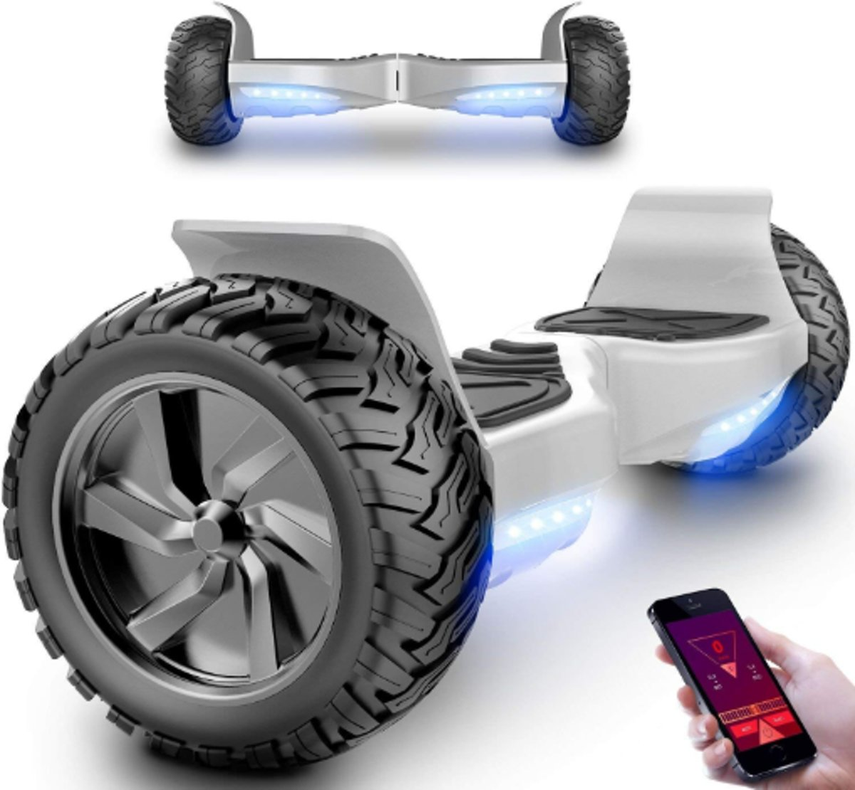 HOVERBOARD HUMMER ZILVER ALLE TERREINEN 8.5 INCHES Off Road App Functie met V5 Bluetooth speaker&TAOTAO 2018 SOFTWARE