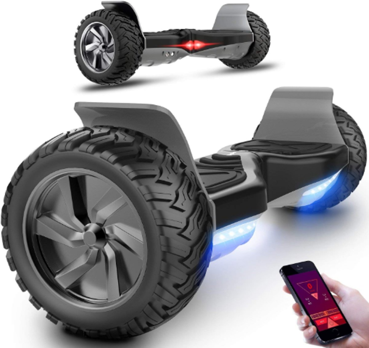 HOVERBOARD HUMMER ZWART ALLE TERREINEN 8.5 INCHES Off Road App Functie met V5 Bluetooth speaker&TAOTAO 2018 SOFTWARE