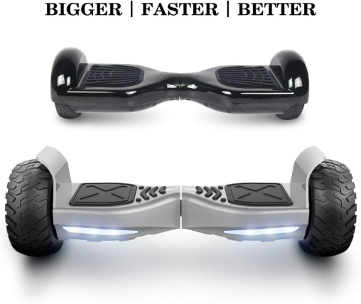 I-CIGO HOVERBOARD HUMMER Zelfbalancerende scooter ALLE TERREINEN 8.5 INCHES Off Road App Functie met V5 Bluetooth speaker&TAOTAO 2018 SOFTWARE (ZILVER)
