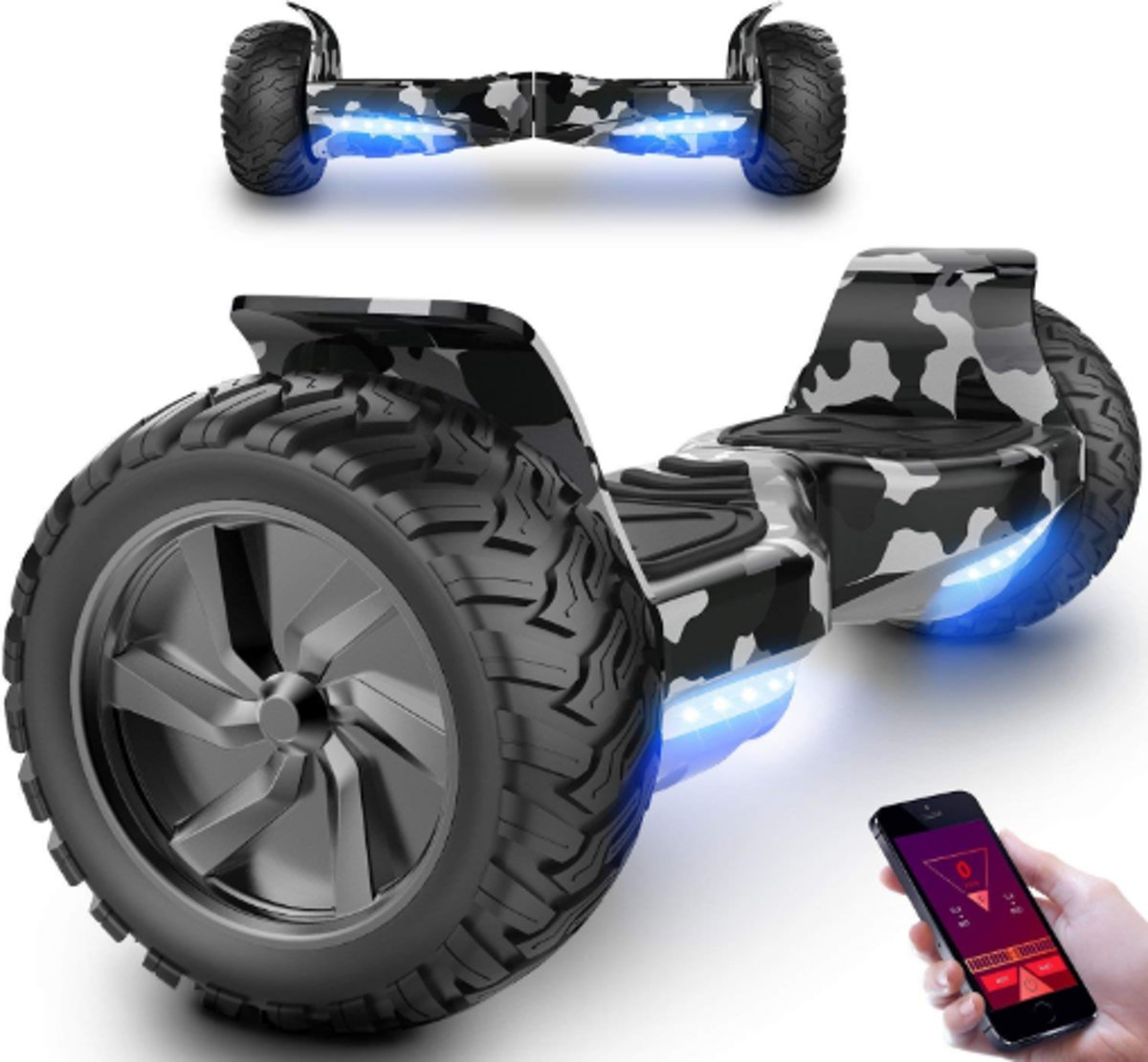 I-CIGO HOVERBOARD HUMMER balance board  ALLE TERREINEN 8.5 INCHES Off Road App Functie met V5 Bluetooth speaker&TAOTAO 2018 SOFTWARE ( Camouflage)