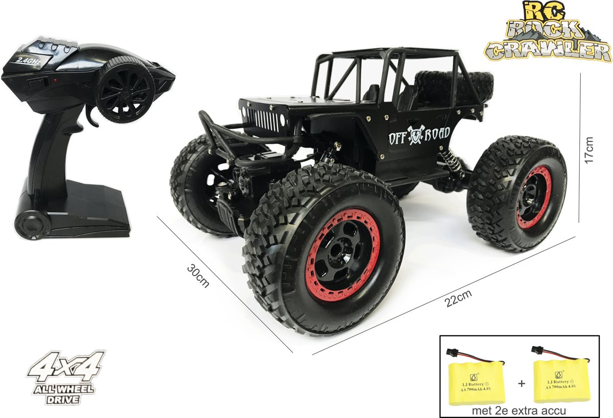Rc Rock Metal Crawler 4x4 off-road - radiografisch bestuurbare auto 1:14 - bergbeklimmer 2.4GHZ + Extra Accu