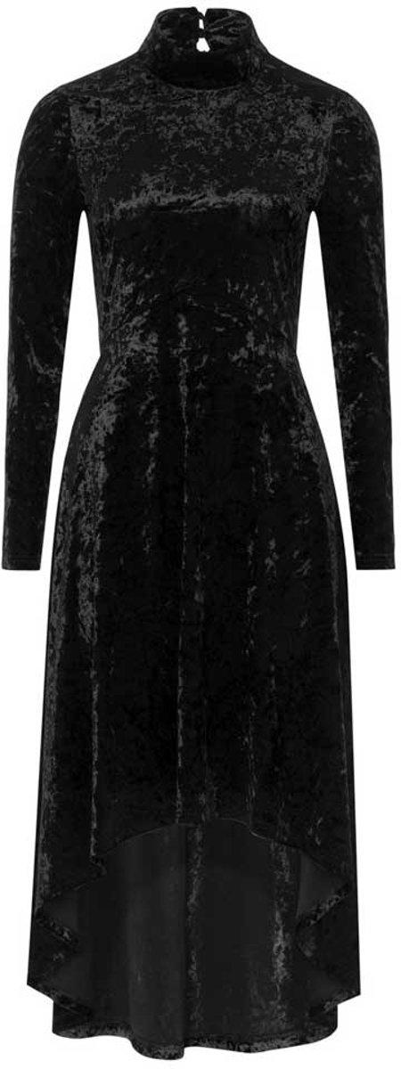 b34825ce1b75b9 Fluwelen lange jurk met hoge hals ...