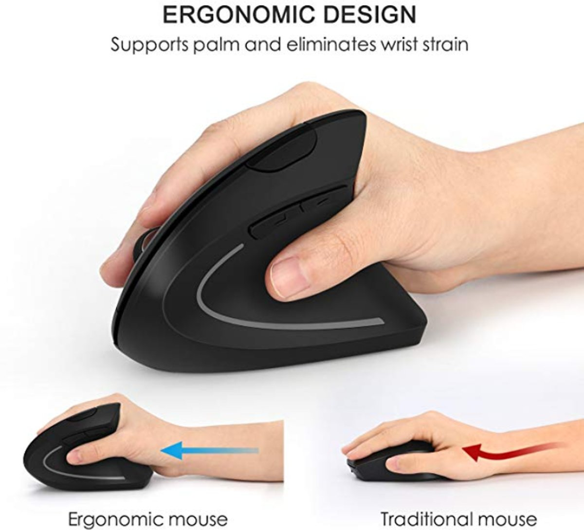 Ergonomisch ontwerp, Vertical Wireless Mouse with USB Receiver DPI 800/1200/1600 for Laptops, PC, Macbook, Black