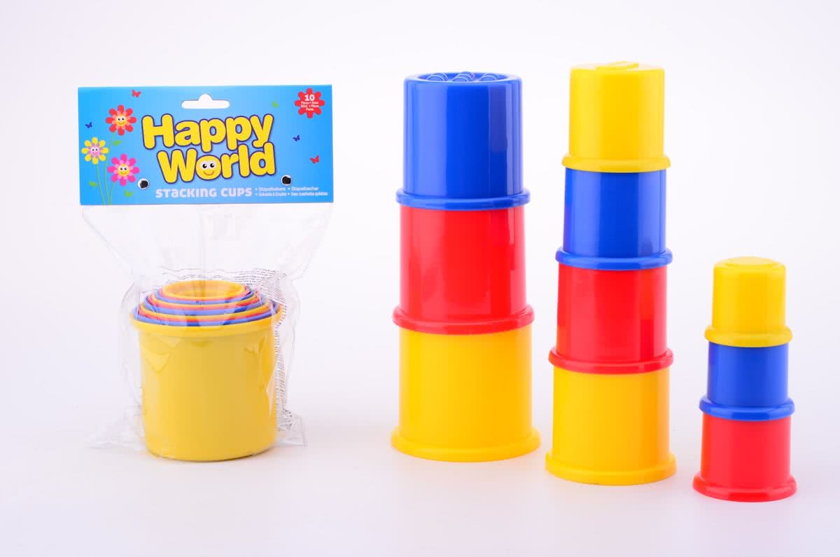 Happy World Stapelbekers 10 stuks