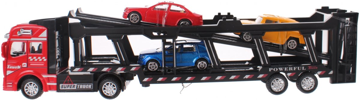 Johntoy Autotransporter Super Cars Met 3 Autos 31.5 Cm Rood