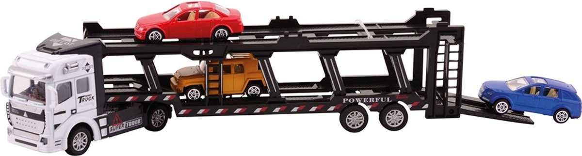 Johntoy Super Cars auto transporter met 3 autos wit/zwart