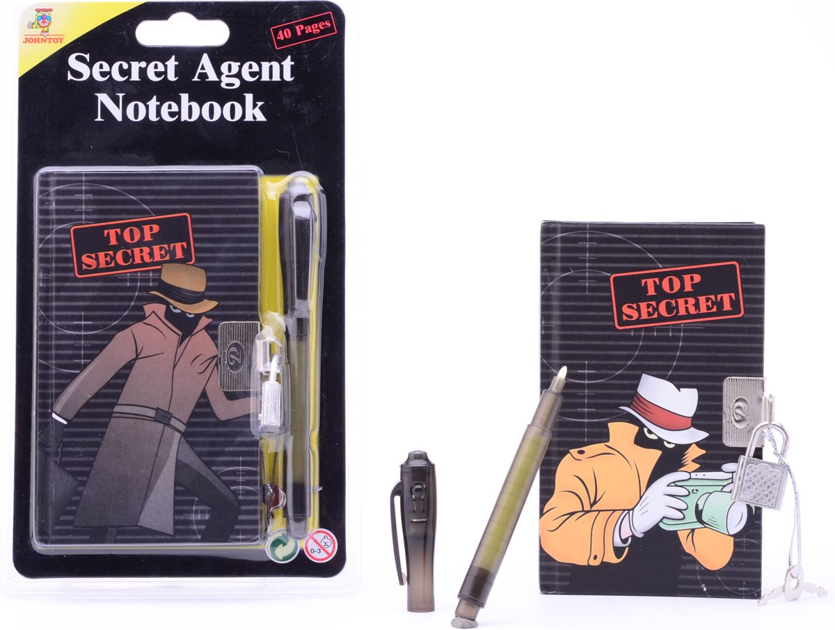 Secret Agent notitieblok met geheime pen 2 assorti