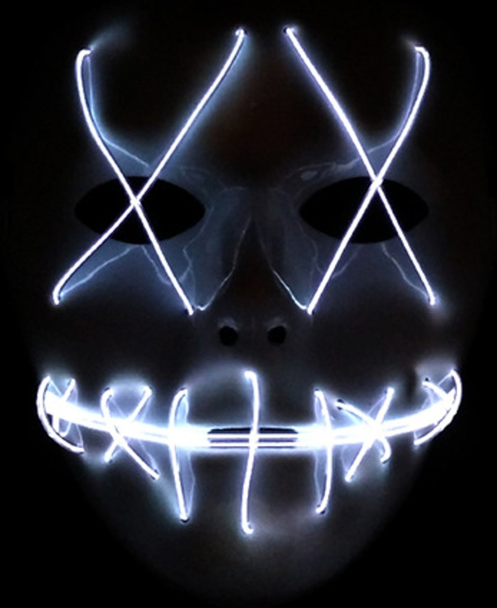 El Wire Spook masker Wit - El Wire Ghost mask White