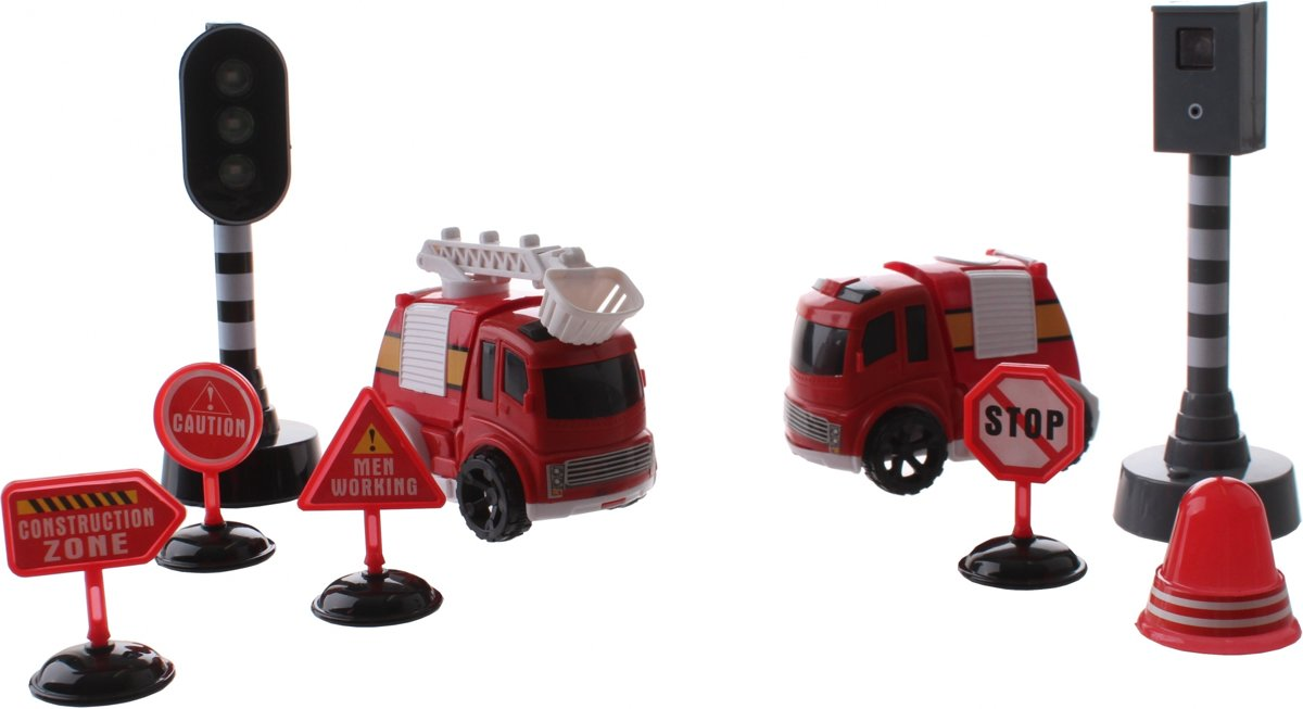 Jonotoys Brandweerset Traffic City 9-delig