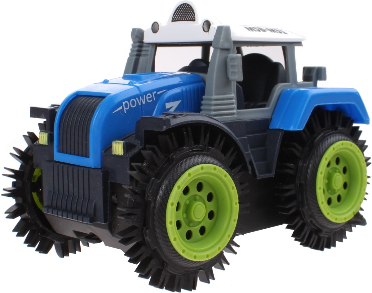 Jonotoys Tractor Super Tripping Blauw 11 Cm