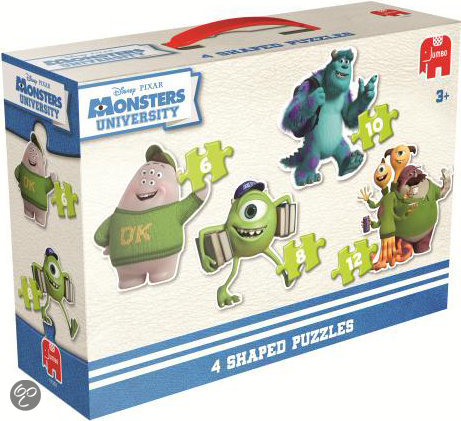 Jumbo Disney Monsters 4in1 - Vormenpuzzel - 6,8,10 en 12 stukjes