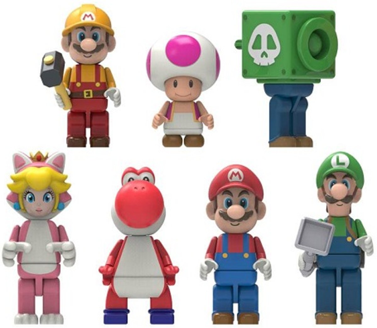 7x Knex Super Mario Blind bag figuurtjes set (+/-5 cm).