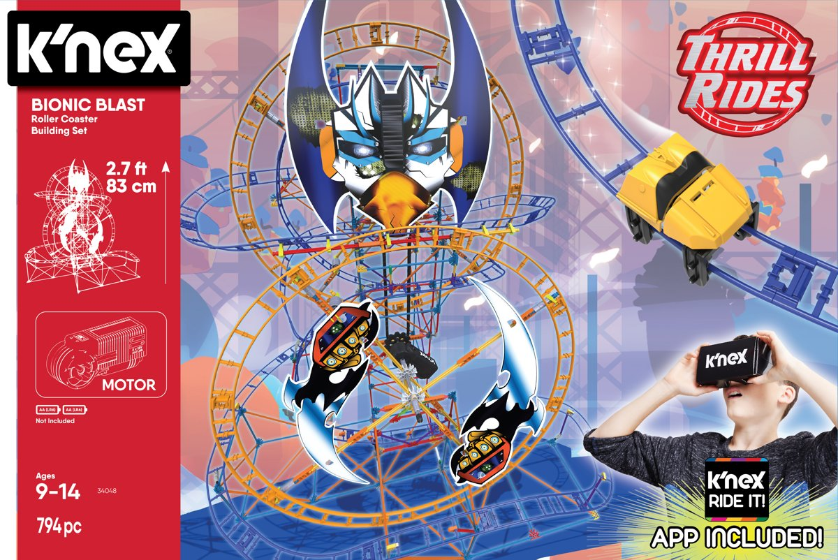 Knex Thrill Rides - Bionic Blast Roller Coaster Building Set - KNected - Inclusief Viewer