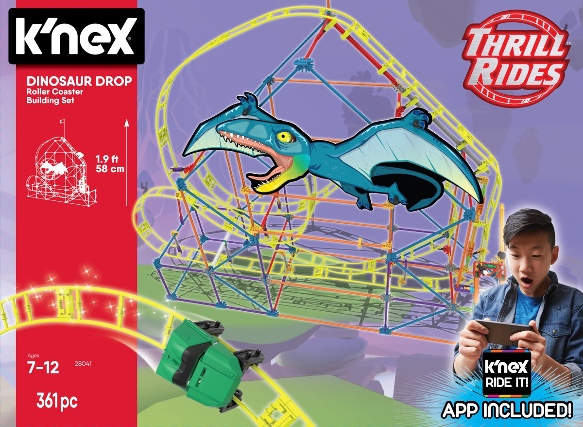Knex Thrill Rides - Dinosaur Drop Roller Coaster - KNected