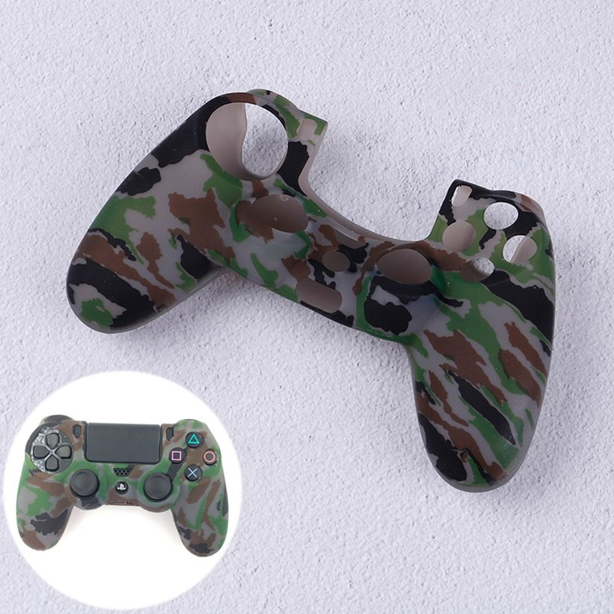 PS4   Protector Siliconen - Camouflage Army Grey