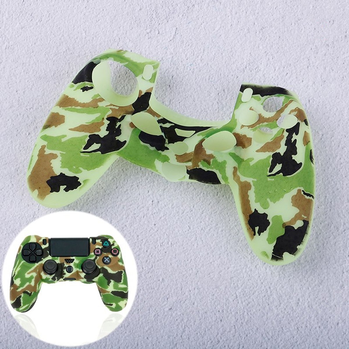 PS4   Protector Siliconen - Camouflage Army Wit / Groen -