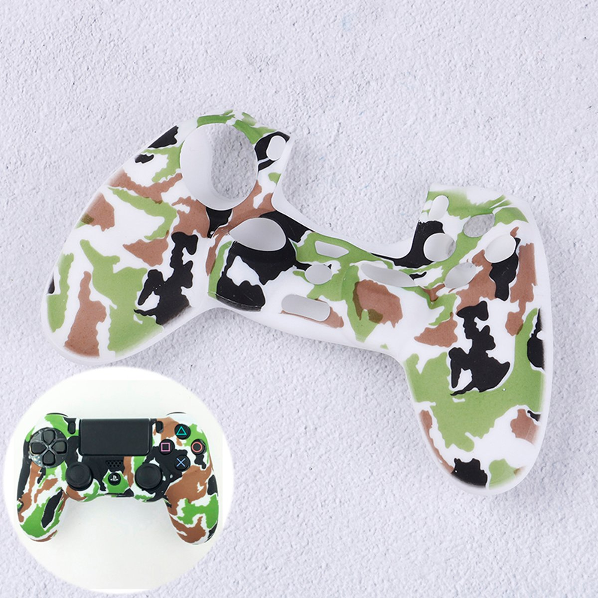 PS4   Protector Siliconen - Camouflage Army Wit -