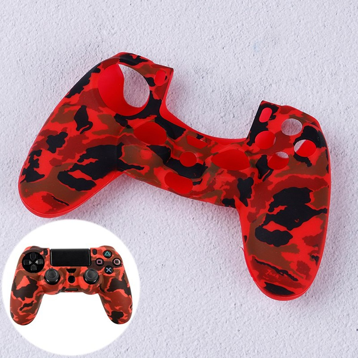 PS4   Silicone Hoes Playstation 4 - Camouflage rood