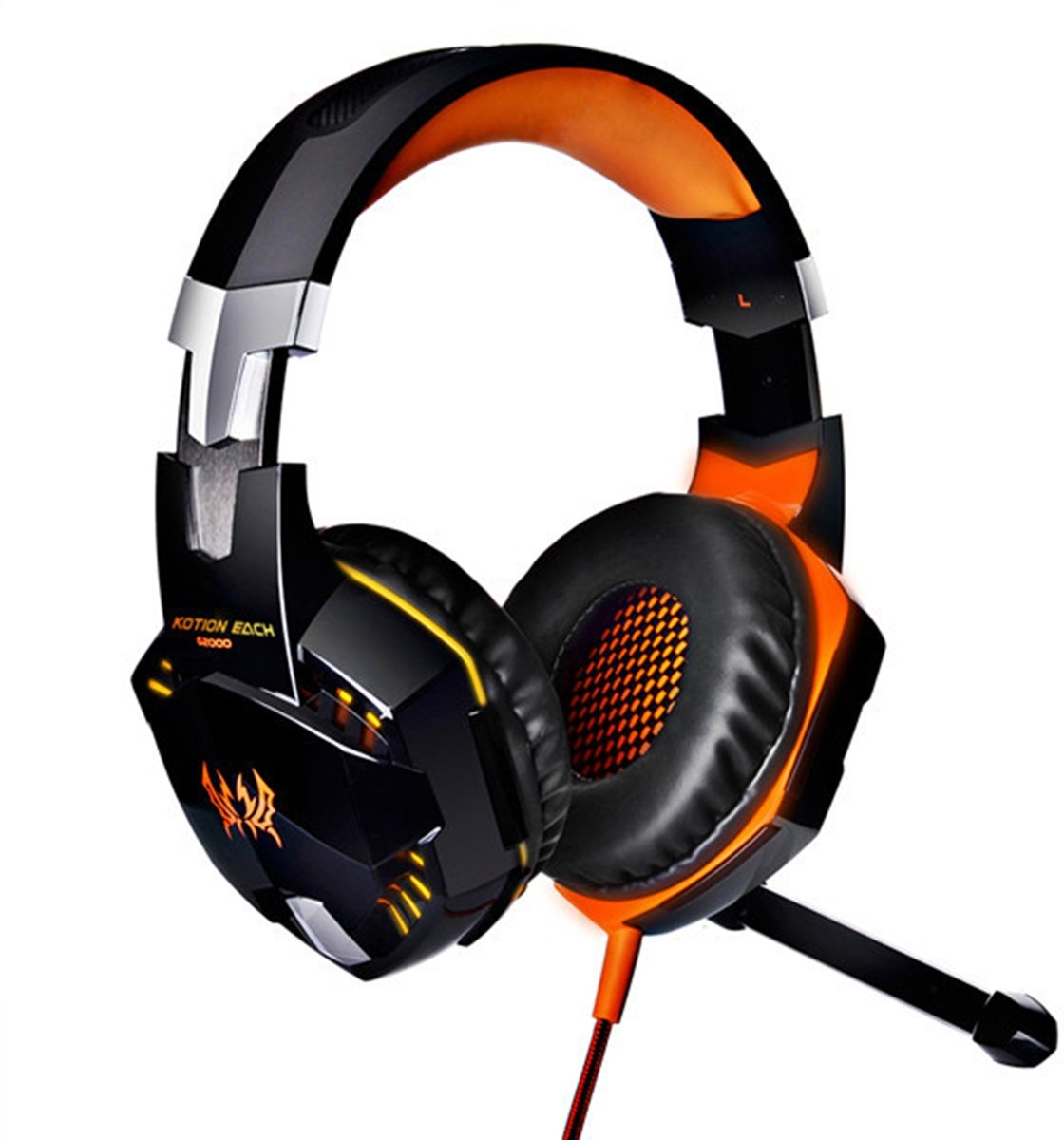 G2000 Over-ear Game Gaming hoofdtelefoon Headset Koptelefoon Headband met Mic Stereo Bass LED licht voor PC Gamer,Kabel Length: About 2.2m(Oranje + zwart)