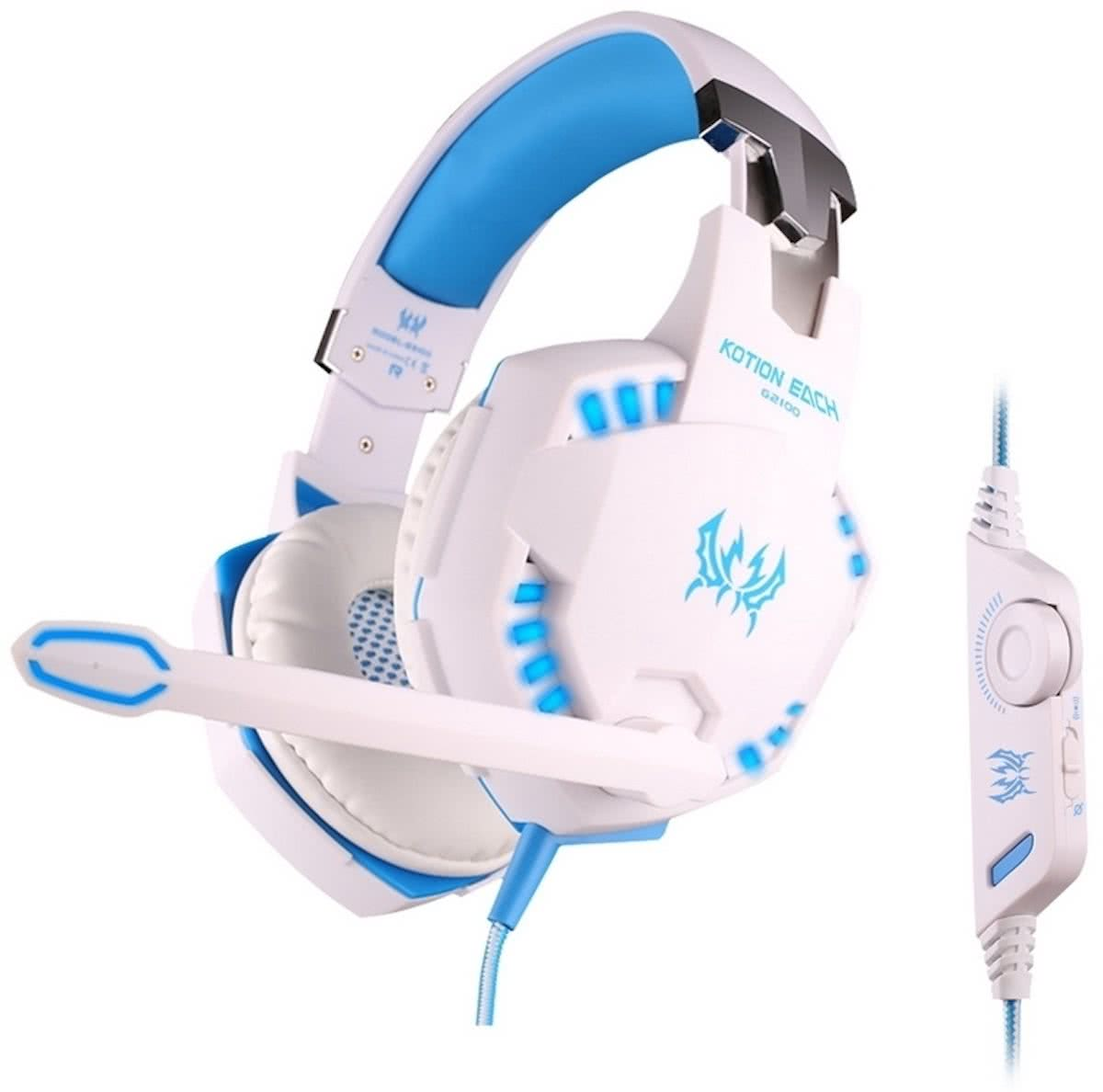 KOTION EACH G2100 Vibration functie Stereo Bass Gaming Headset met Mic & LED licht voor Computer, Kabel Length: 2.2mwit