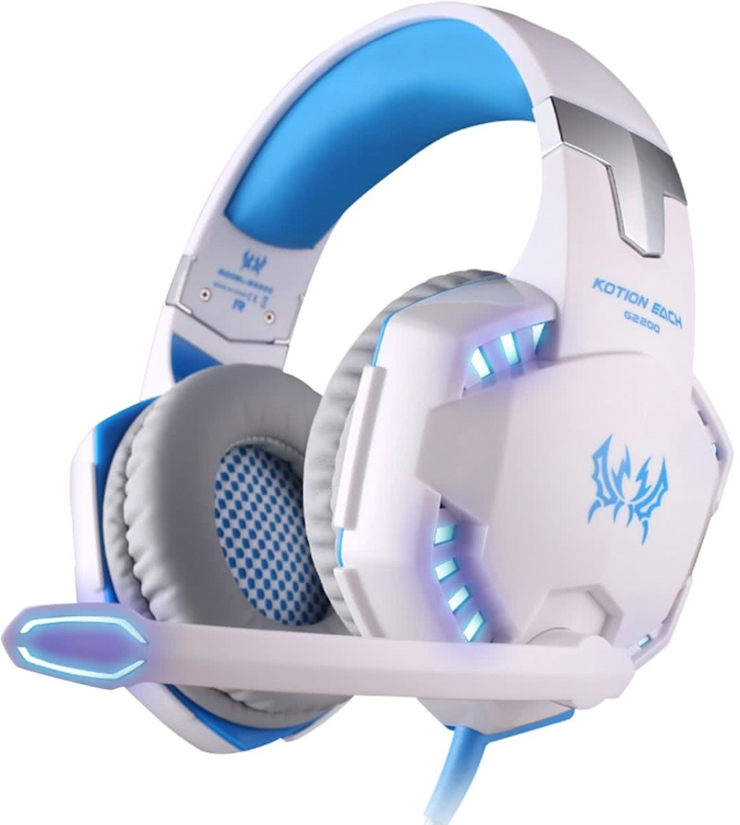 KOTION EACH G2200 USB 7.1 Surround Sound Vibration Game Gaming hoofdtelefoon Computer Headset Koptelefoon Headband met microfoon LED licht,Kabel Length: About 2.2m(White + blauw)