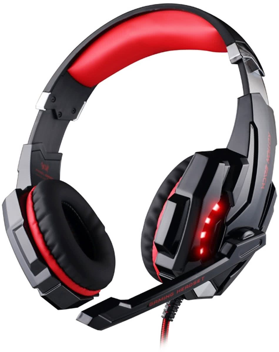 KOTION EACH G9000 3.5mm Game Gaming hoofdtelefoon Headset Koptelefoon Headband met microfoon LED licht voor Laptop / Tablet / mobiele telefoons,Kabel Length: About 2.2m(Red + zwart)