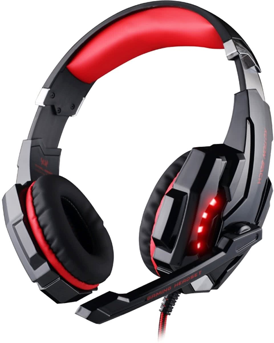 KOTION EACH G9000 USB 7.1 Surround Sound Version Game Gaming hoofdtelefoon Computer Headset Koptelefoon Headband met microfoon LED licht,Kabel Length: About 2.2m(Red + zwart)