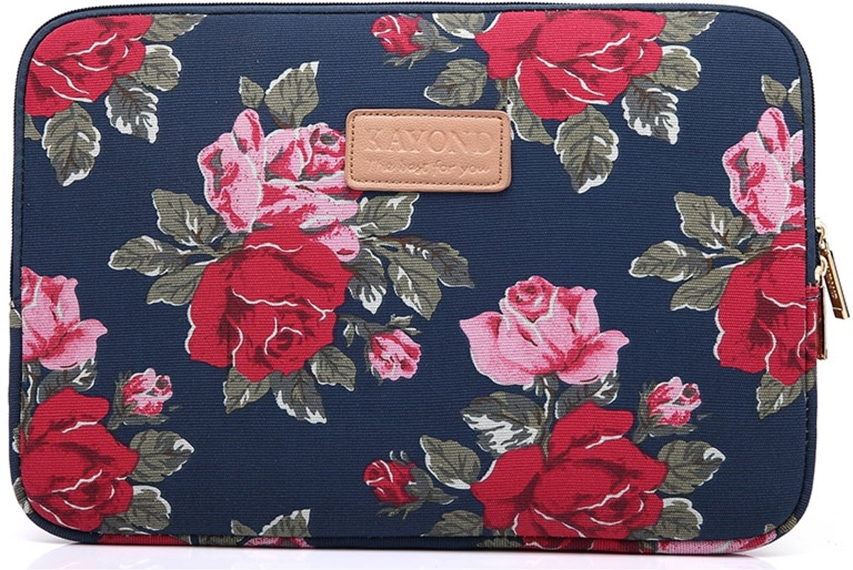 Kayond   Laptop Sleeve met rozen tot 13 inch   Rood/Roze/Donkerblauw
