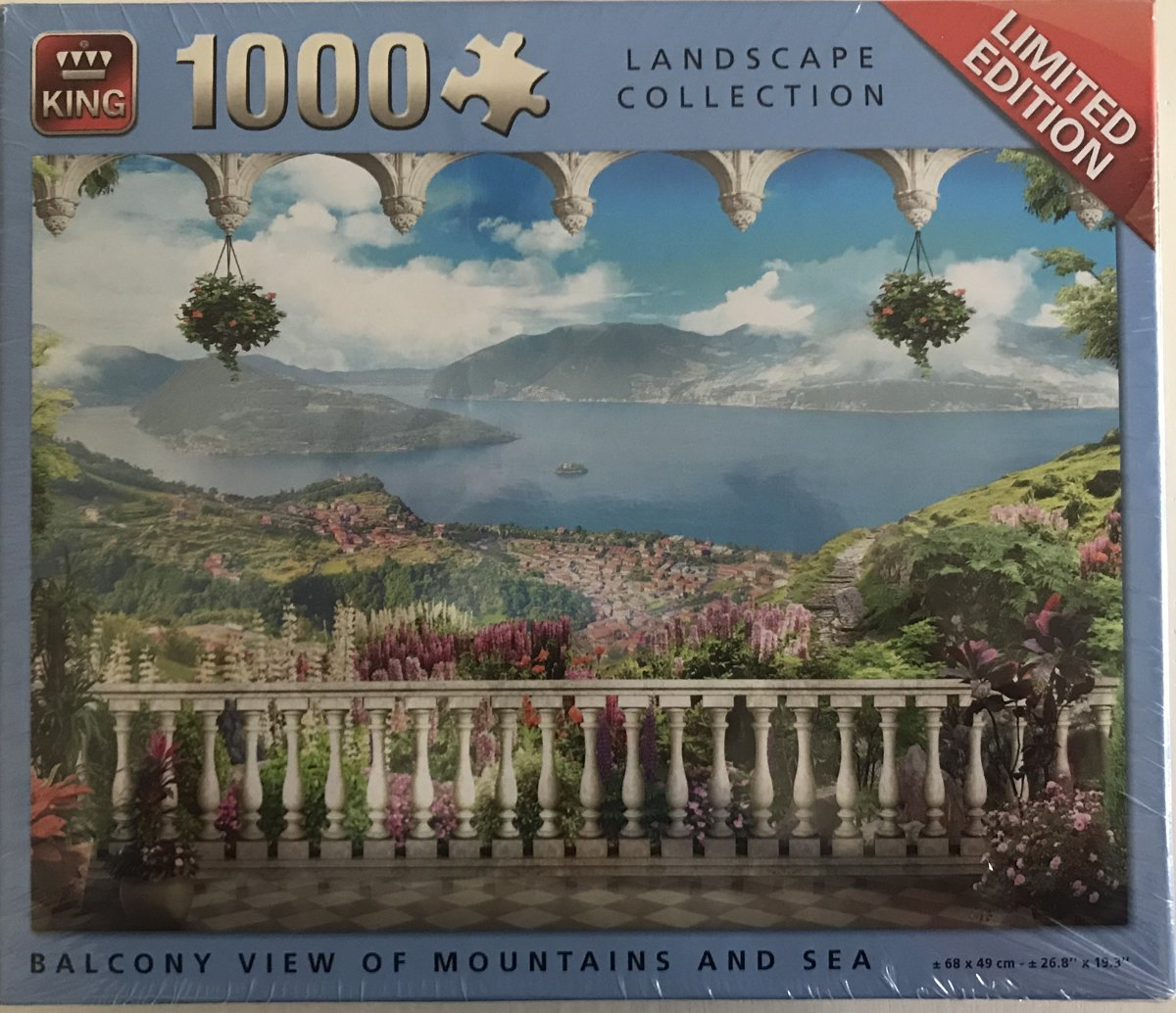 King puzzel 1000 stukjes landscape collection balcony view with mountains and sea, balkon uitzicht met bergen en zee