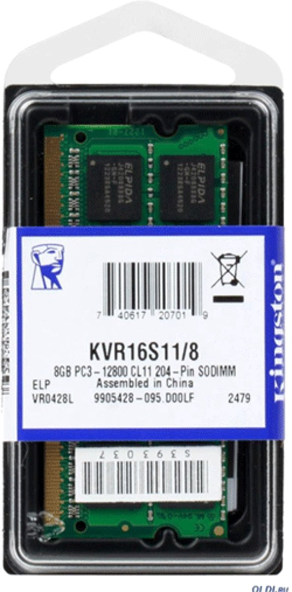 KINGSTON 8GB, SO-Dimm, DDR3, 1600Mhz