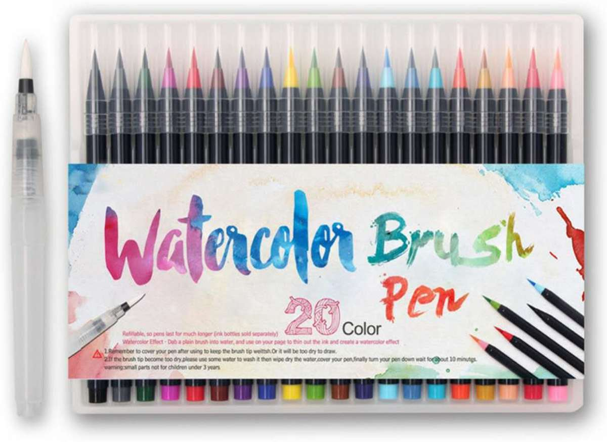 | Brush Pen Set | Water Color | 20 Kleuren + 1 Water Brush Pen | Penseelstiften voor o.a. Lettering en Kalligrafie
