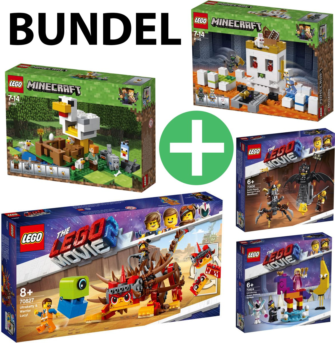 LEGO The Movie 2 & Minecraft BUNDEL | Minecraft Het Kippenhok 21140 + Minecraft De Schedelarena 21145 + Ultrakatty & Strijder Lucy! 70827 + Maak Kennis met Koningin Watevra WaNabi 70824 + Gevechtsklare Batman en Metaalbaard 70836